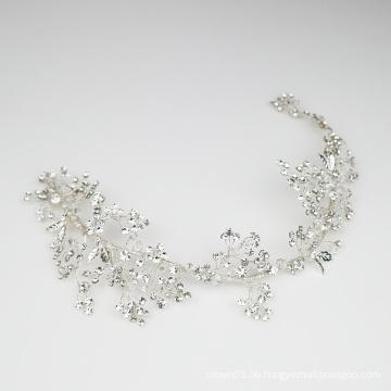 Handgemachte Vine Strass Kristall Kopfschmuck Edles Silber Brauthaar Accessoires für die Hochzeit
