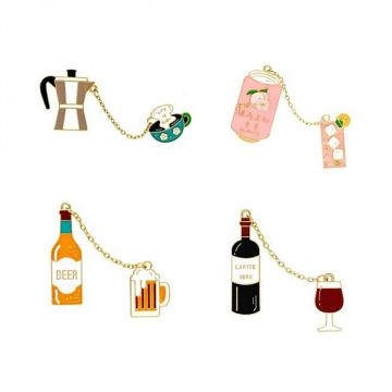 Alloy Pins Sets Cute Cartoon Wine Beer Coffee juice Brooches for Clothing Bags Backpacks Jackets Hat Jewelry DIY Accessories