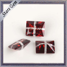 Rectangle Very Shining Blood Red and White CZ Gemstone