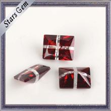 Retângulo muito brilhante sangue vermelho e branco CZ Gemstone