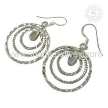 Mode féminine Rainbow Moonstone Jewelry Earring Manufacture 925 Bijoux en argent à la main Boucles d'oreilles faites à la main