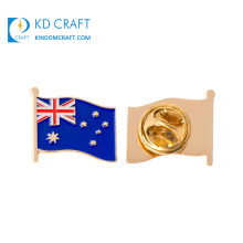 Wholesale cheap custom metal stamped gold plated soft enamel country australia flag lapel pin