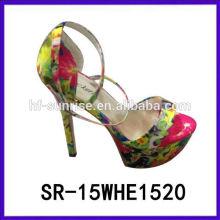 SR-15WHE1520 sandalias del talón de las sandalias los 15cm del alto talón de las muchachas sandalias al por mayor de las señoras de las sandalias de China