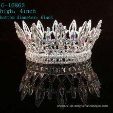 Großhandel neue Krone Schönheit Rhinestone König Tiara volle Runde Festzug Kronen