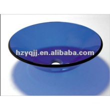 10 to 12mm single layer round blue bathroom glass sink include pop-up drainer glass bowl