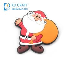 Wholesale custom logo 3d rubber soft pvc festival snowman decoration santa claus resin christmas fridge magnet