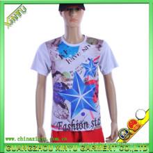 Impressão digital tecido de algodão bambu esporte t shirt atacado (xy-t14)