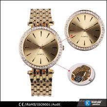 Relógio de ouro de moda diamante para mulheres
