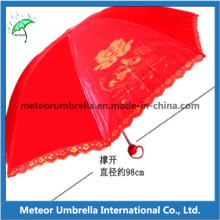 3 Fold Super Mini Ladies Wedding Umbrella with Lace Board