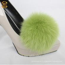 Accessoires de mode Fox Fur Pom Poms pour chaussures à talons hauts