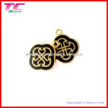 Custom Metal Charm in Shiny Gold with Black Enamel