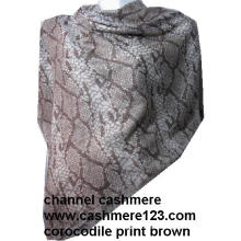 Cashmere Silk Square Shawl Ty0905# Brown Corocodile