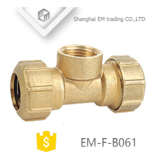 EM-F-B061 3 way brass spain plumbing pipe fitting with two compression joint and one female thread