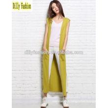 Mode cardigan tricoté ouvert long sans manches pour cardigan de chandail de femme en cachemire