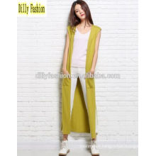 Fashion sleeveless long open knitted cardigan for lady womens cashmere sweater cardigan