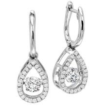Fashion Dangle Earrings 925 Silver Dancing Diamond Jewelry