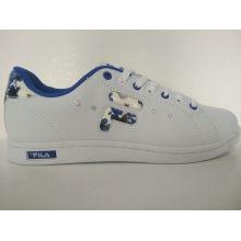 Rhinestone azul flor impresa mujeres blancas zapatos de skate