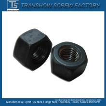 Écrou hexagonal lourd noir en acier au carbone M24