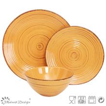 18PCS Antiqute Orange with Brush Ceramic Dinner Set