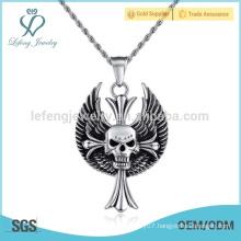 Fancy feather metal pendant for jewellery,skull diamond feather pendant