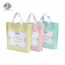 Beautiful custom printing foldable grocery shopping bags with plastic hard loop handle