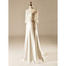 Sweep Train Tulle Sleeve Beach Wedding Gown