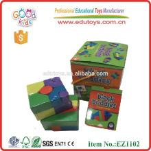 hot sale 21pcs block buddies for kids wooden educational card game, wooden educational block