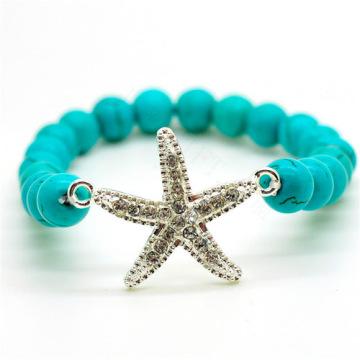 Turquoise 8MM Round Beads Stretch Gemstone Bracelet with Diamante alloy starfish Piece
