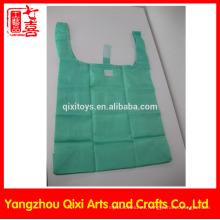 Bolso de compras plegable barato promocional barato de la tela de nylon del supermercado de la bolsa de asas de las compras