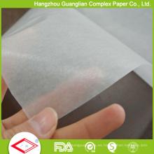 Papel de envoltura para alimentos del papel de Glassine del silicón blanco natural 24GSM