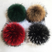 dyed racooon fur ball natural real raccoon fur pom poms