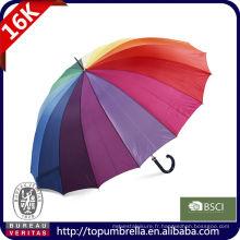 Parapluie droit de golf droit arc-en-ciel de 30 16 nervures avec l'impression de logo