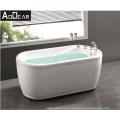 Aokeliya Hydro Massage Jet Whirlpool Corner Bath Tub with Tempered Glass