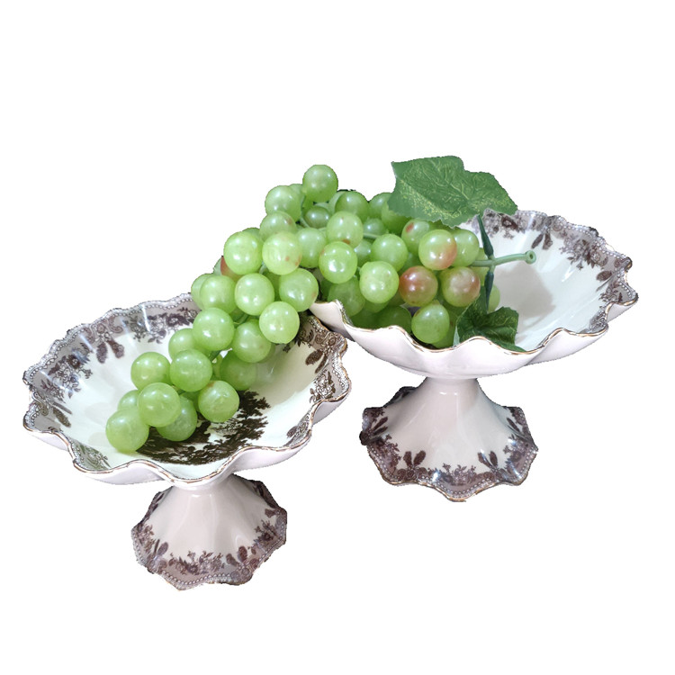 Best Selling Delicate Russia Style High Base Fruit Bowl Fruit Plate Cake Rack Kitchen Drawing Room Porcelain Plate