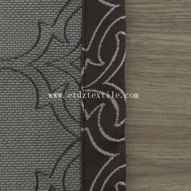 Classical Polyester Jacquard Soft Textile Curtain Fabric GF027 Chocolate