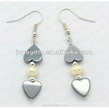 Fashion Hematite Heart Beads Earring; perles d'hématite et boucles d'oreilles en argent couleur boucles d'oreilles hematite 2pcs / set