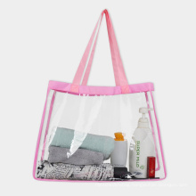 Accept custom logo printing large capacity reusable recycled transparent green tote style clear pvc shopping bag