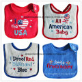 Customized Design Cotton Applique Embroidered Terry Baby Feeder Bib