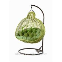 cheap green rattan hanging swing chair