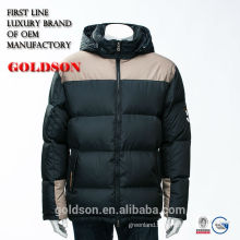 2016 Men Hooded Short Goose Down Jacket with Contrast Color