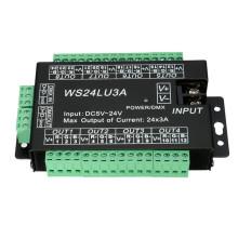 Décodeur facile DMX512 DMX de LED 24CH, contrôleur de gradateur de LED, DC5V-24V, chaque CH Max 3A, contrôleur de 8 groupes RVB