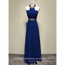 Alibaba Elegante Largo Nuevo Diseñador De Cuello Azul Real Color Gasa Vestidos De Noche La Playa O Vestido De La Dama De Honor Con La Perla De Cristal LE29