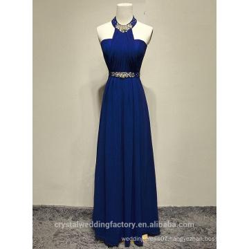 Alibaba Elegant Long New Designer Neck Royal Blue Color Chiffon Beach Evening Dresses Or Bridesmaid Dress With Crystal Bead LE29