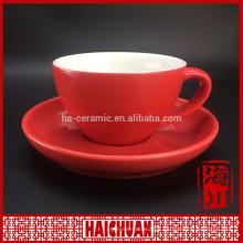 Color glazing coffee mug and saucer