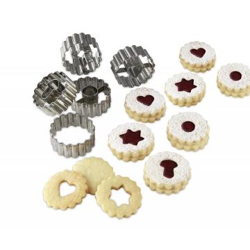 Prensa de galletas de acero inoxidable Christmas Linzer Cookie Cutter