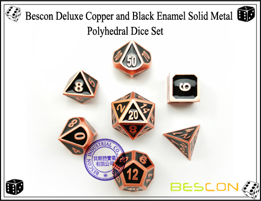 Bescon Deluxe Copper and Black Enamel Solid Metal Polyhedral Role Playing RPG Game Dice Set (7 Die in Pack)-4