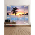 Tapisserie Wandteppich Wandbehang Windows Beach Sea Ocean Serie Tapisserie Tropical Style Sunrise Coconut Tree Tapisserie für Bett