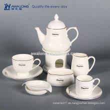Weißer kundenspezifischer Logo-Knochen China-Teil feiner keramischer Kaffee-Satz