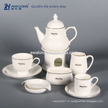 Blanc Custom Logo Bone China Part Fine Set de café en céramique