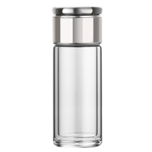 BPA Free Double Wall Glass Tea Infuser water Bottle with Strainer